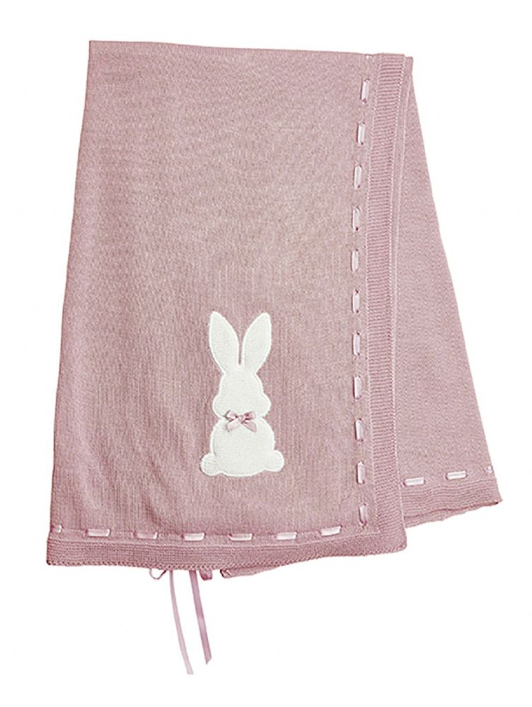 A3524P Bunny Shawl with Ribbon